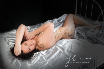 Boudoir Blog Ms S Silver satin sheet bed shoot. Wirral photographer new generation portraits.